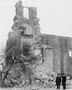 Collapse of Mission San Jose church tower, ca. 1928. (Catholic Archives of Texas)