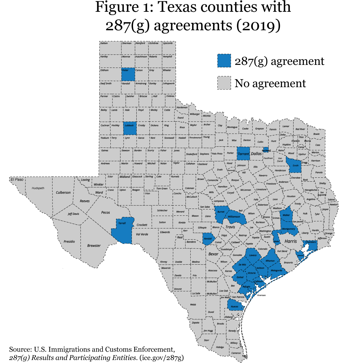 Map Of Texas Showing Counties.Immigration Map Of Texas Counties Only With 287 G Agreements
