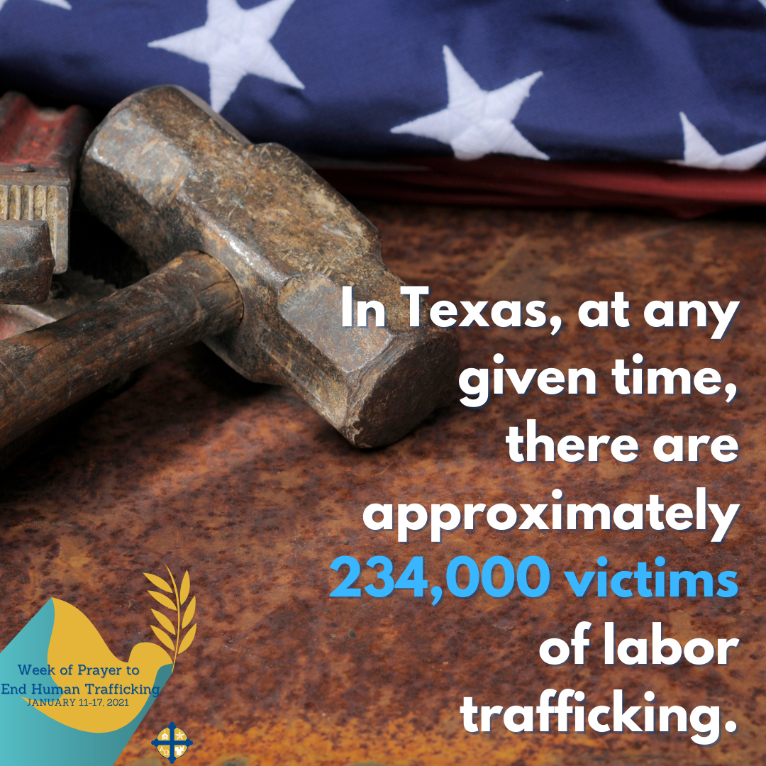 Facebook & Instagram: Human trafficking happens in every community and can involve commercial sex, forced labor or domestic servitude.   Watch this video from the Department of Homeland Security to learn more: www.dhs.gov/blue-campaign/videos/general-awareness  #TexasPraystoEndHT  Twitter: Watch this video to learn about how human trafficking occurs in every community: www.dhs.gov/blue-campaign/videos/general-awareness #TexasPraystoEndHT
